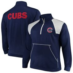 online retailer 5a0e6 96eee Chicago Cubs Majestic Big   Tall Quarter-Zip Two-Tone Pullover Jacket -  Royal White, Size  3XB, Blue