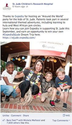 St. Jude Children's Research Hospital features Mickela Mallozzi and Bare Feet™ on their Facebook page (Sept 17, 2013)