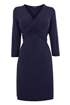 Warehouse Clothing | NAVY WRAP TIE DRESS | Fashion Clothing | Warehouse Fashions