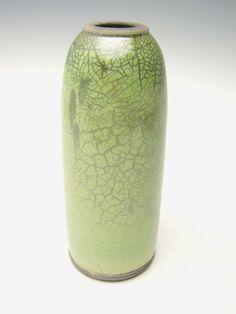 Vase Raku  pottery green crackle  vase vase by Letsgetmuddy