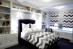 White Bunk Beds with West Elm Organic Chevron Duvet Cover and Shams - Contemporary - Boy's Room White Bunk Beds, Bunk Beds Built In, Bedroom Built Ins, Shelves In Bedroom, Bungalow Bedroom, Dream Bedroom, Blue Headboard, Bedroom Colors, Bedroom Ideas