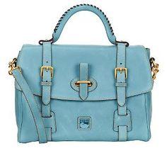 Dooney & Bourke Florentine Leather Flap Tab Satchel - QVC.com