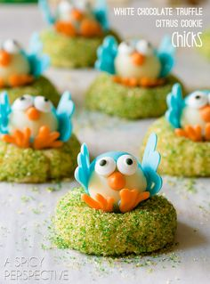 Baby Birds - White Chocolate Citrus Chick Cookies (with a truffle in the middle!)