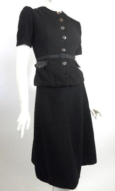 Studded Black Nipped Waist Suit Dress circa 1940s