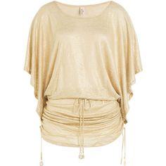 Luli Fama Metallic Tunic (7.170 RUB) ❤ liked on Polyvore featuring tops, tunics, shirts, blouses, women, womens tops, gold, polish shirts, metallic top and gold shirt