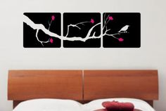3 Panel Cherry Blossom Tree and Bird Decal by dabbledownJunior, $36.00