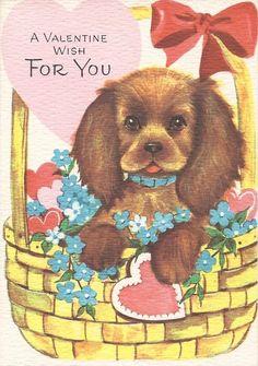 1950s Valentine's Day card puppy