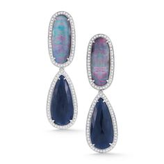 STYLE #E1884                     14K White Gold with Diamonds, Blue Sapphire  and Boulder Opal