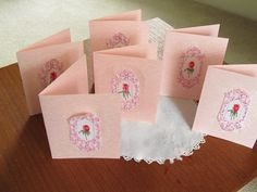 6 for 12 Unique Pink Notecards with a Rose Cameo by AuntMaymesAttic on Etsy