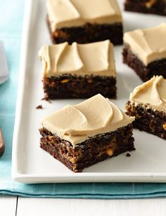 Peanut butter-swirled brownies are amazing on their own, but we decided to take things to the next level. The frosting is the undisputed star of this dessert, and it's so easy to make! Simply take a can of Betty Crocker vanilla frosting and mix it with some creamy peanut butter and milk and you'll have the best frosting you've ever tasted. Try using it on other chocolate treats like cookies or cakes!