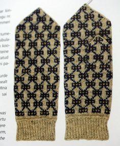 "Three-colour Estonian mittens from Kambja parish, Praakli - from Aino Praakli's book ""Eesti Labakindad Ilma Laande Lailali""."
