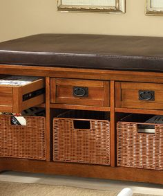 Look at this Antique Oak Contessa Mission Storage Bench on #zulily today!