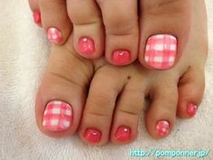 Translated from Japanese - Of bright pink and gingham check is foot nail.   Based on the white ring finger and thumb gingham check I drew. One color paint I put a rhinestone at the base of the place.   It is a girly nail casual.