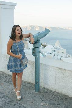 Revolve blue dress, Santorini Greece, Fira, what to wear to Greece - My Style Vita @mystylevita
