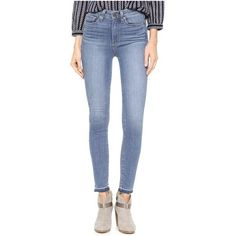 Paige Denim Margot Ankle Jeans with Undone Hem ($200) ❤ liked on Polyvore featuring jeans, ellington, skinny ankle jeans, blue skinny jeans, skinny leg jeans, ankle length skinny jeans and short pants