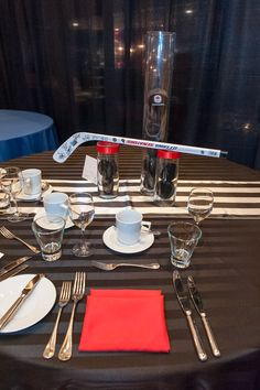 #goteamgo #hockeytheme black and white striped table runner, Black imperial stripe table cloth. Red napkins