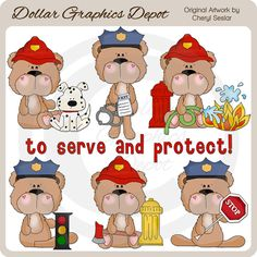 BoBo Bear To Serve and Protect - Clip Art Collection - Only $1.00 at www.DollarGraphicsDepot.com : Great for printable crafts, scrapbook pages, thank you greeting cards, thank you gift boxes / bags, thank you gift tags / labels, gift card holders, candy bar wrappers, coffee mugs, T-Shirt transfers, Post-It-Note holders, printable photo frames, and much more!