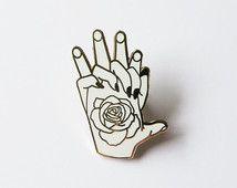Don't Leave - Holding Hands Enamel Pin with Rose Tattoo Lapel Pin Badge - White & Gold