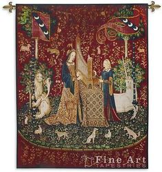 """""""Lady & Unicorn Hearing Tapestry Wall Hanging"""" The Lady and the Unicorn is a series of six tapestries woven in Flanders of wool and silk and is often considered one of the greatest works of art of the"""