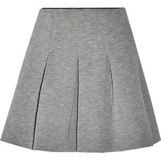 T by Alexander Wang Pleated neoprene mini skirt (6,545 DOP) ❤ liked on Polyvore featuring skirts, mini skirts, grey, gray mini skirt, gray skirt, t by alexander wang, short grey skirt and pleated miniskirt