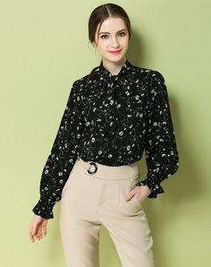 VIPme (VIPSHOP Global) - GUSTAVO ARANGO Black Spring/Fall Turtleneck Floral Sweet Strappy Shirts - AdoreWe.com