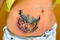 owl tattoo by Javi Wolf Piercings, Piercing Tattoo, Javi Wolf, Tattoo Fonts Generator, Watercolor Tattoo Artists, Girl Face Drawing, Wolf Tattoos, Tatoos, Stomach Tattoos