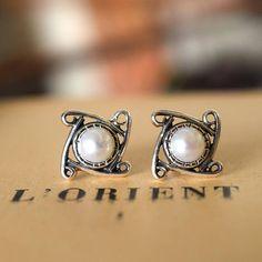 Sterling silver stud pearl earrings white pearl post earrings