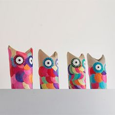 Owls made out of paper rolls
