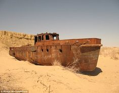 Ship in the former Aral Sea, in Uzbekistan. The rusting hulks have sat in the desert since the 1960s, when the Russians began diverting the water for irrigation