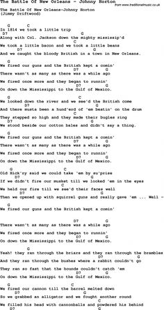 Song The Battle Of New Orleans by Johnny Horton, with lyrics for vocal performance and accompaniment chords for Ukulele, Guitar Banjo etc. #playguitarforbeginners Acoustic Guitar Chords, Guitar Chords And Lyrics, Guitar Chords For Songs, Guitar Sheet Music, Ukulele Chords, Guitar Tips, Fingerstyle Guitar, Music Music, Guitar Books