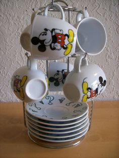 Disney Mickey Mouse Cup and Saucer Tea Set with Rack