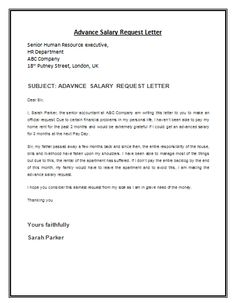 advance salary request letter template is a formal letter composed by the employee addressed to