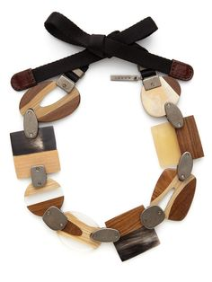 Horn, wood, and clear resin multi-shape station necklace with leather, and brass connector details  | MARNI