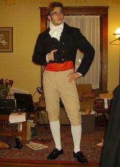 Regency Men's Ensemble ~1800 buff breeches, navy tailcoat, brocade waistcoat