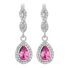 14k White Gold 1 1/3 ct Pear Cut Pink Sapphire & Round Diamond Ladies Halo Drop Earrings (I-J & Pink, I1-I2 & Highly Included) (Earring, White Gold), Size Medium