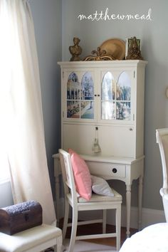from matthew mead a petite secretary desk is a perfect fit for the room we refreshed it with chalk paint and outfitted the windows with views of castle