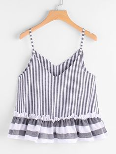 To find out about the Contrast Striped Frill Hem Cami Top at SHEIN, part of our latest Tank Tops & Camis ready to shop online today! Casual Skirt Outfits, Summer Outfits, Cute Outfits, Plus Size Tank Tops, Crop Tops, Women's Tops, Grey Fashion, Fashion Outfits, Fashion Trends