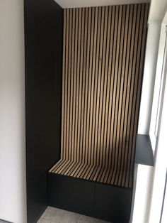Wooden slat wall, wall panels & acoustic panels at Wood Slat Wall, Wooden Wall Panels, Wood Panel Walls, Wooden Slats, Wood Paneling, Modern Wall Paneling, Flur Design, Wall Design, House Design