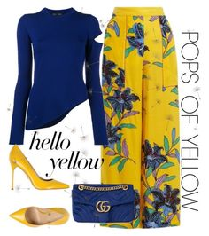 """""""Get Happy: Pops of Yellow"""" by laurabosch on Polyvore featuring Diane Von Furstenberg, Proenza Schouler, Sergio Rossi, Gucci, PopsOfYellow and NYFWYellow"""