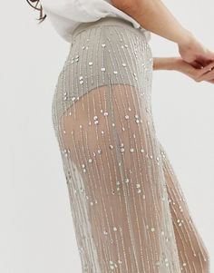 Asos, Wide Leg Trousers, Fashion Online, Embellishments, Sequin Skirt, Sequins, Mesh, Classy Fashion, Skirts