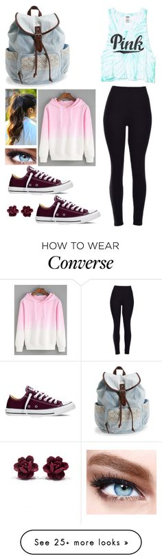 """Pink"" by sarahstacey on Polyvore featuring Converse, Aéropostale, Maybelline, women's clothing, women's fashion, women, female, woman, misses and juniors"