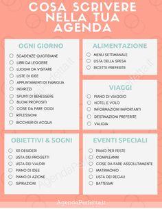 cosa scrivere nella tua agenda - Finance tips, saving money, budgeting planner Agenda Organizer, Agenda Organization, Filofax, Agenda Bullet, Agenda Planning, Autogenic Training, Bellet Journal, Home Binder, Bullet Journal School