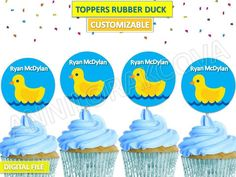 Printable, Rubber Duck, Baby, Cupcake Topper, Cake Pop, Picks, Customizable file
