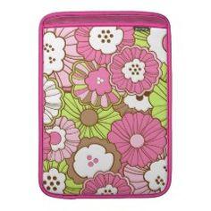 Pretty Pink Green Flowers Spring Floral Pattern MacBook Air Sleeve