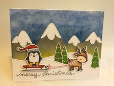 Lawn Fawn Toboggan Together stamps & dies & Stitched Hillside Border dies /// Mama Elephant Snow Capped Mountains dies