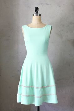 COQUETTE MINT - Light mint green dress with pockets // flared circle skirt // ivory crochet // bridesmaid dress // vintage inspired // day on Etsy, $68.00