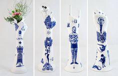Esculturas de porcelana inspiradas em tatuagens da brasileira Evelyn Tannus;