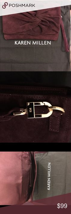 """KAREN MILLEN Burgundy Suede Bow Clutch purse ultra-soft suede with a chic pleated bow and an optional wristlet strap, this feminine KAREN MILLEN clutch transitions seamlessly from day to night. Like new in excellent condition. Only used once for a photo shoot. Comes with dust bag. Suede Imported Detachable wristlet strap Magnetic closure; unlined 9.5""""L x 1.75""""W x 6.75""""H Karen Millen Bags Clutches & Wristlets"""
