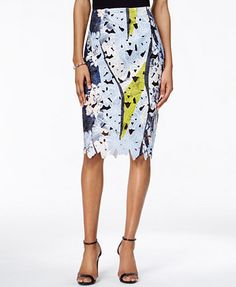 Bar III Floral-Lace Pencil Skirt, Only at Macy's | macys.com