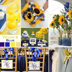 wedding theme: blue and yellowr ...  Blue and Yellow is a happy, sunny combination. It works well with sunflowers because sunflowers look so good with blue.